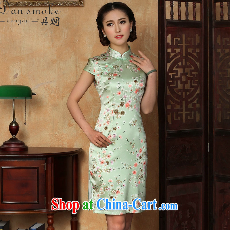 Bin Laden smoke-free summer cheongsam dress new Chinese improved light up collar silk Phillips sauna silk short cheongsam dress such as the color 2 XL