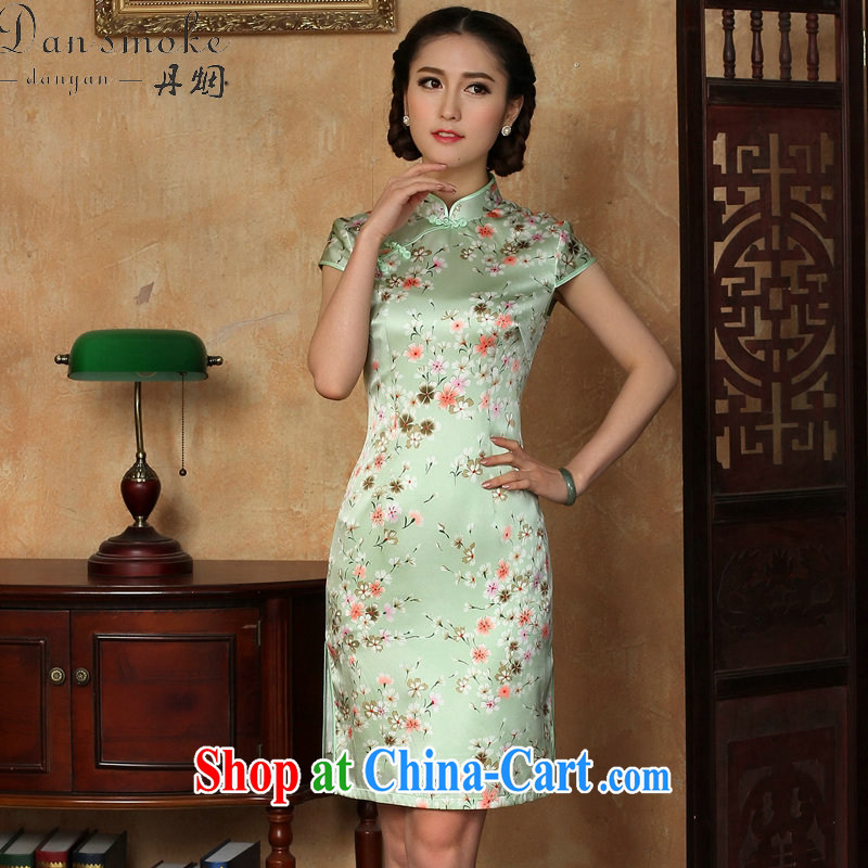 Bin Laden smoke-free summer cheongsam dress new Chinese improved light up collar silk Phillips sauna short Silk Cheongsam dress figure-color 2 XL, Bin Laden smoke, shopping on the Internet
