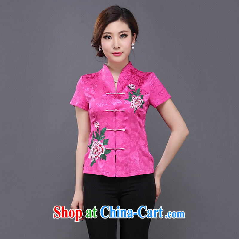 Adam's old 15 new women with middle-aged ladies beauty embroidered Chinese summer, apply for Chinese short-sleeved Y of 053 red_053, M