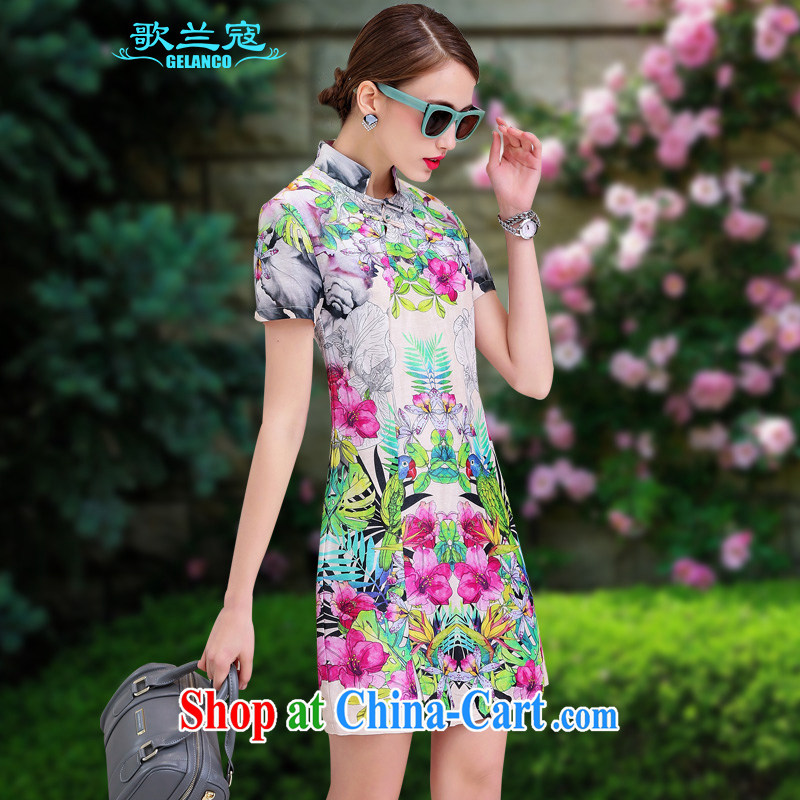 Song Curtis, summer 2015 new dresses cotton Ma Silk Dresses sauna silk retro beauty graphics thin stamp elegant further skirt spring flowers XL