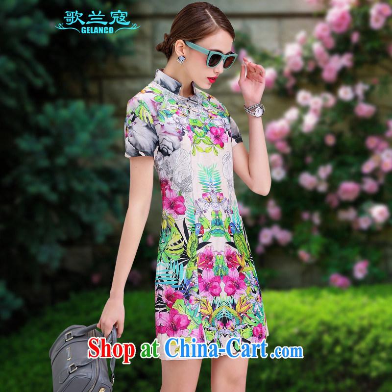 Song Curtis, summer 2015 new dresses cotton Ma Silk Dresses sauna silk retro beauty graphics thin stamp elegant further skirt spring flowers XL