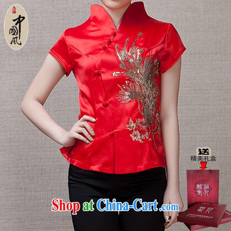 Adam's old age 15 Ms. summer cultivating short-sleeved Chinese T-shirt stylish middle-aged female Chinese summer Y 031 red_031 3 XL