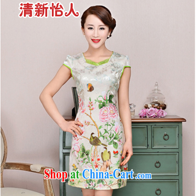 Refreshing new Ethnic Wind elegant low the forklift truck serving toast improved cheongsam dress summer T-shirt dress girls pink Peony XL
