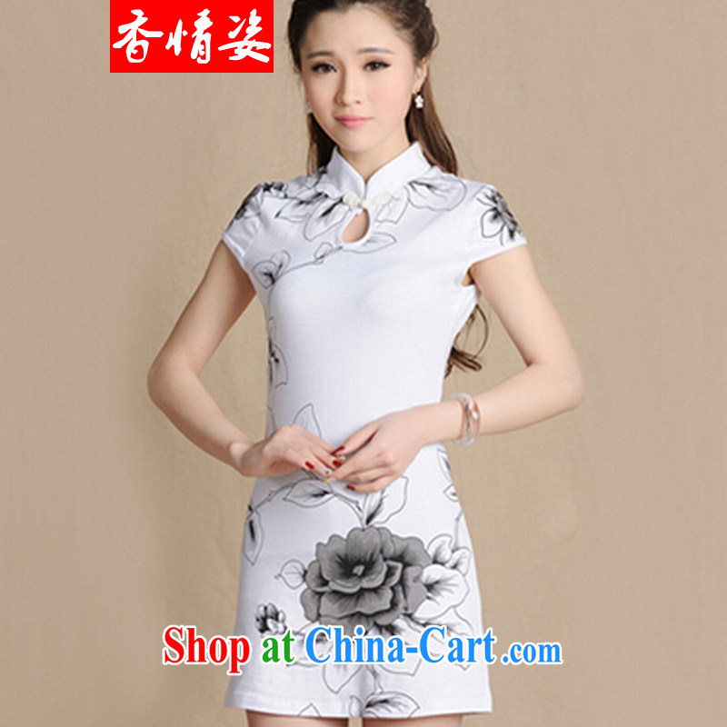 fragrance and beauty 2015 new paragraph number 5907 National wind painting beauty antique dresses cotton female white XXL
