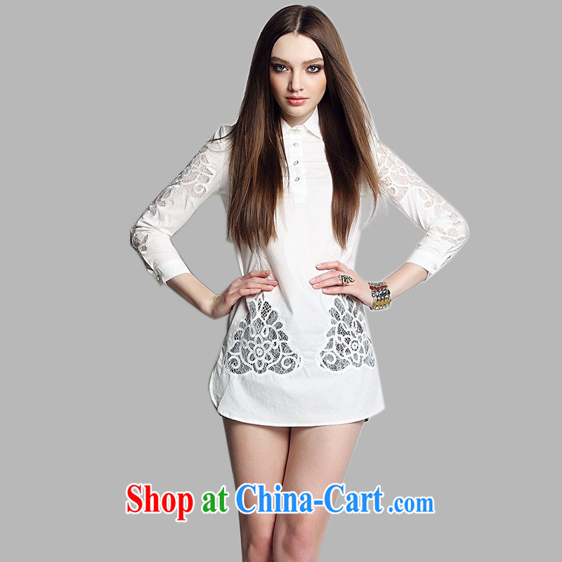 Black butterfly 2015 spring and summer new European site female lace Openwork cotton classic long, Ms. white shirt collar T shirts white XL