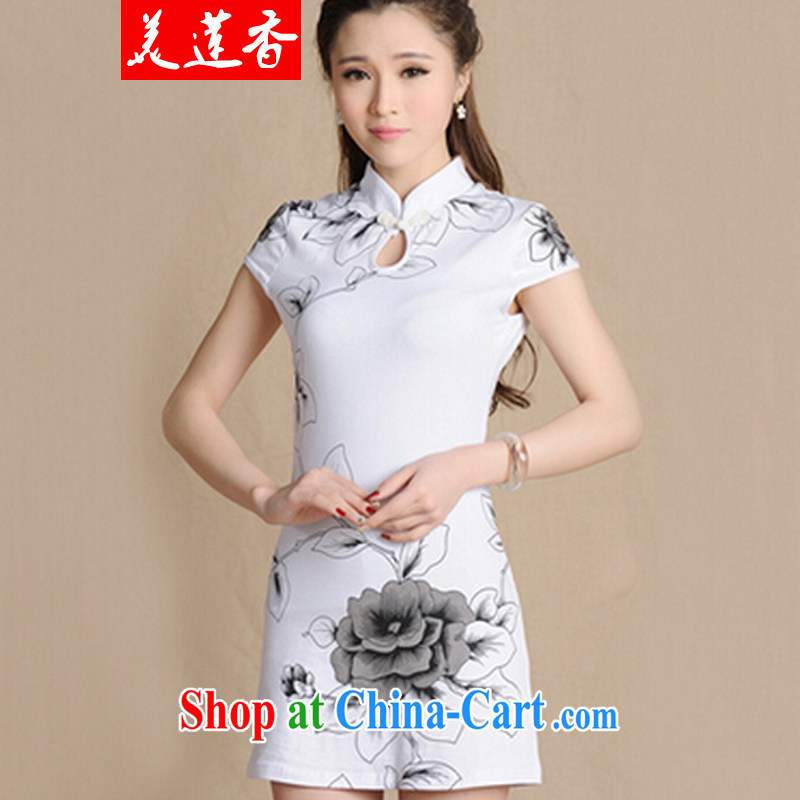 The Siang 2015 new paragraph number 5907 National wind painting beauty antique dresses cotton female white L