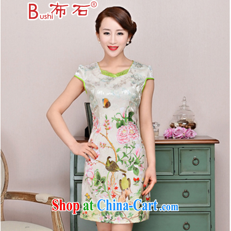 The stone new Ethnic Wind elegant low the forklift truck serving toast improved cheongsam dress summer T-shirt dresses female toner Peony XL