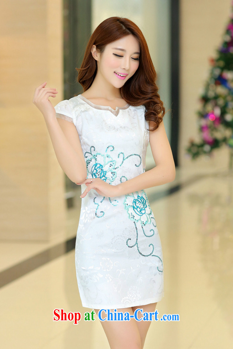 kam world, Yue sweet and elegant ladies dress short-sleeved beauty retro improved cheongsam dress summer dress high waist 2015 style dress white M pictures, price, brand platters! Elections are good character, the national distribution, so why buy now enjoy more preferential! Health