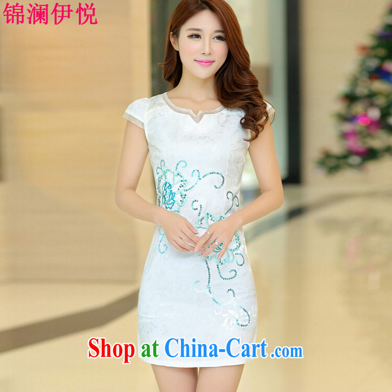 kam world, Yue sweet and elegant ladies dress short-sleeved beauty retro improved cheongsam dress summer dress high waist 2015 style dress white M