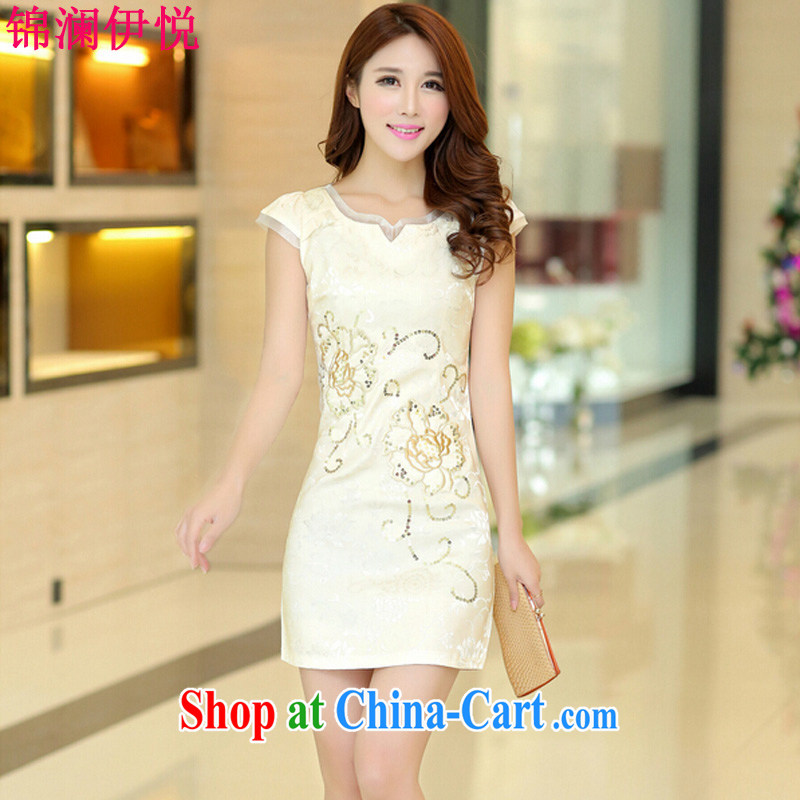 Kam-world, Yue sweet and elegant ladies dress short-sleeved beauty retro improved cheongsam dress summer dress high waist 2015 style wedding dresses white M, Kam world, Hyatt, shopping on the Internet