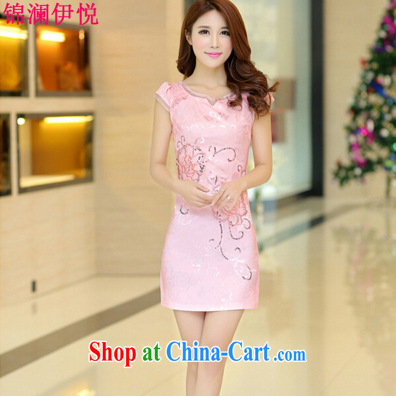 Kam-world the Hyatt 2015 spring new beauty video thin China wind, stamp duty cheongsam dress dress skirt short, sweet fashionable and fresh natural pink S