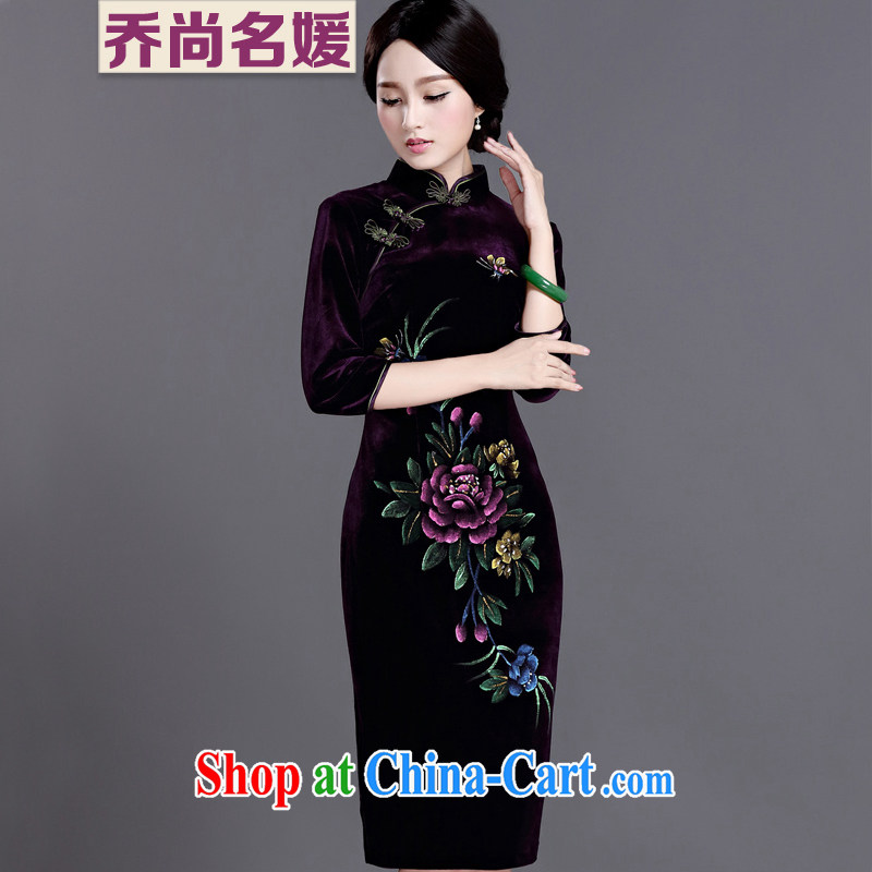 Joe is still name-yuan velvet cheongsam improved 7 cuff Chinese banquet mother Chinese SHSR 1236 purple XXXL