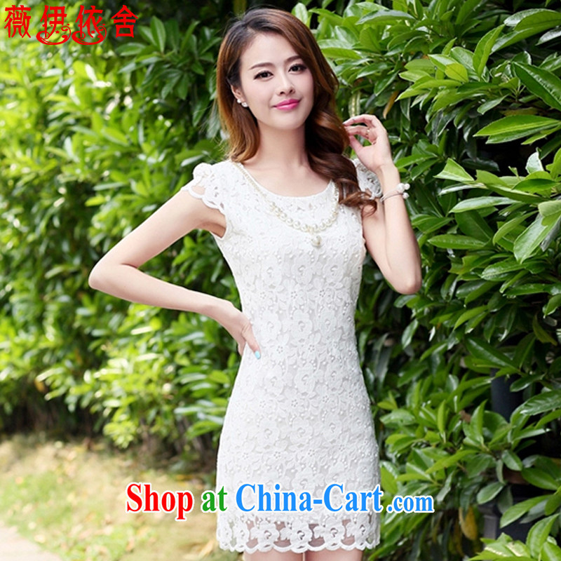 Ms Audrey EU in accordance with the buildings 2015 summer new lace beauty cheongsam dress 6502 white M