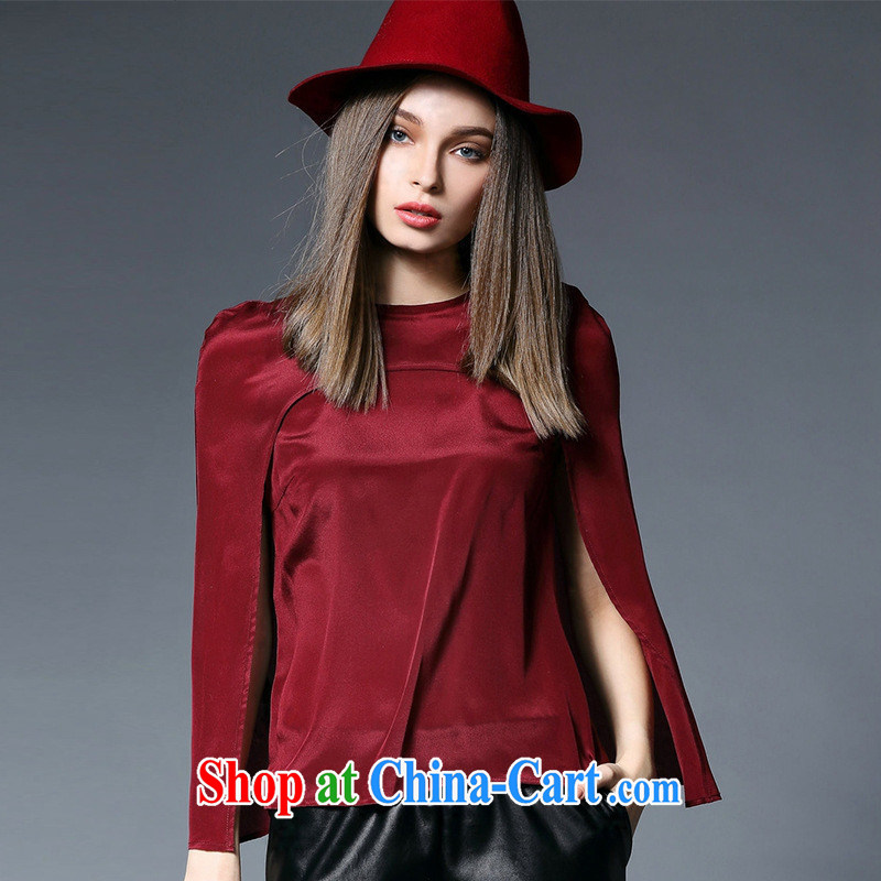 Qin Qing store 996 two-piece 2015 new spring Female European sites in Europe and T-shirts beauty T shirt shawl maroon L