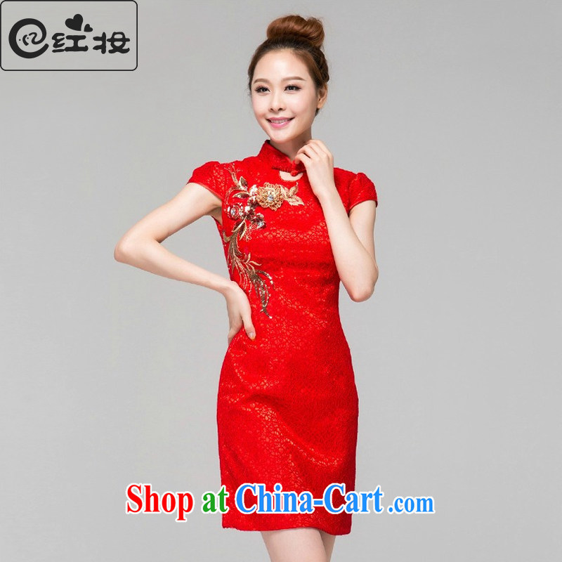 Recall that the red makeup short dresses, red bride toast wedding clothes and stylish improved retro summer dresses dresses beauty Q 13,660 red XXL