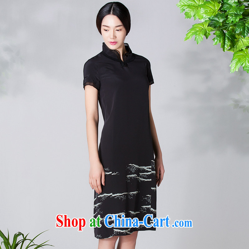 Diane Ying 2015 spring and summer women's clothing new products for beauty, short-sleeved, for 100 100 sauna Silk Dresses PAE 1164 black S