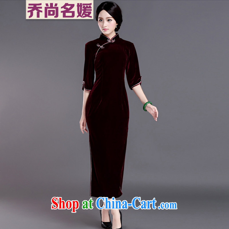 Joe is still name Kim Woon-velvet cheongsam 7 cuff improved long Ms. JSR load 81,180 maroon L