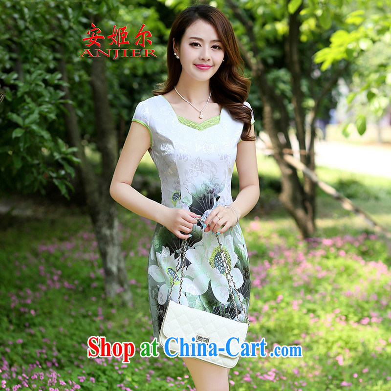The Taj Mahal, summer 2015 women new elegance beauty graphics thin cheongsam dress further skirt dresses snow woven dress green XXXL