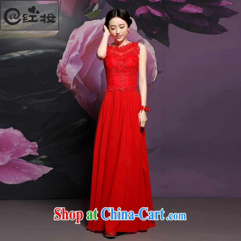 Recall that the red makeup new marriage red long bows Service Bridal lace dress Chinese Antique improved dress Q 14,729 red XL