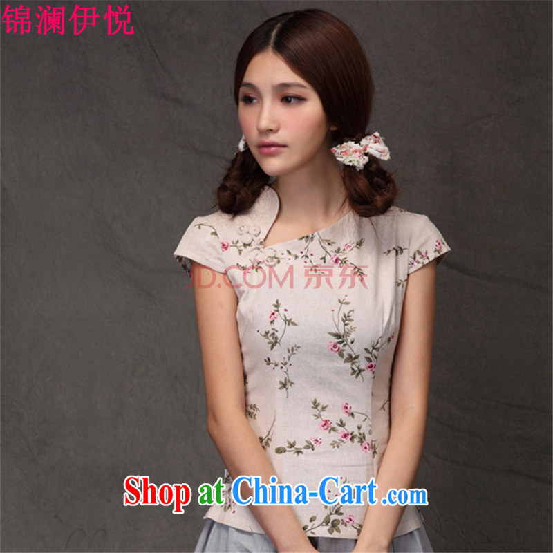 Kam-world the Hyatt 2015 summer new women with small floral ethnic wind-buckle cotton the arts van retro ethnic wind cheongsam shirt cultivating short-sleeved T shirts small shirts forgetting D. Crescent collar M