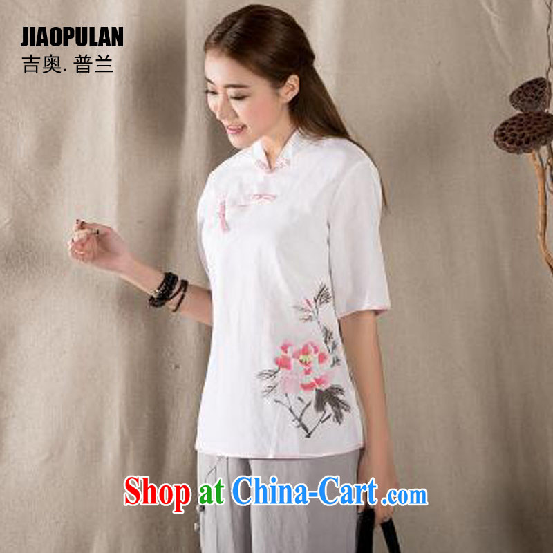 Mr. Kaplan 2015 spring and summer new cotton Ma hand-painted antique art Chinese improved Chinese shirt PLZ 1217 white XXL