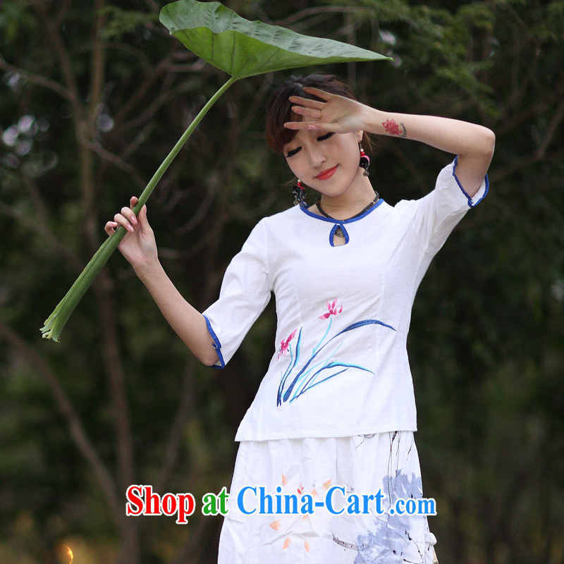 2015 spring and summer new retro Ethnic Wind Women's clothes, T-shirt 5 sleeveless white XXL