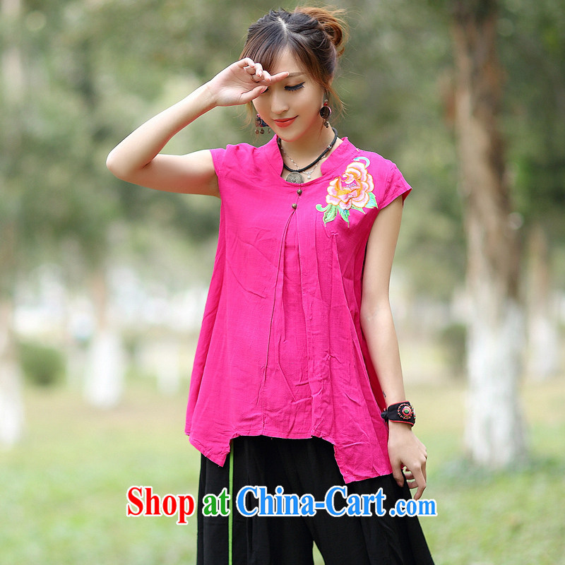 2015 spring and summer new Ethnic Wind Embroidery is not rules, with casual short-sleeved T-shirt by red XL