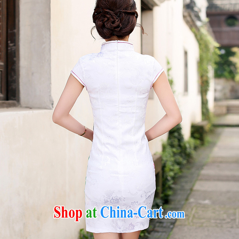Jin Bai Lai girls summer 2015 Korean Ladies short-sleeve stamp package and improved cheongsam dress high-end style retro Beauty Fashion dresses 4 XL, pure Bai Lai (C . Z . BAILEE), online shopping