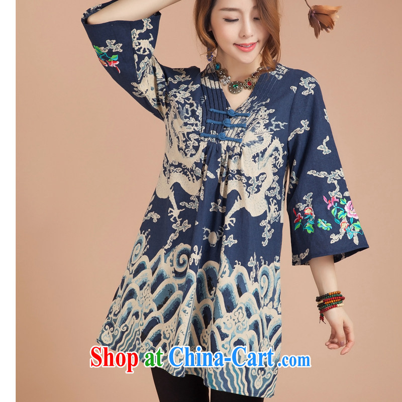 Brown jeep _BROWNGE_ New National wind embroidered dresses China wind Chinese improved the buckle embroidered skirt and skirt Two wearing blue are code