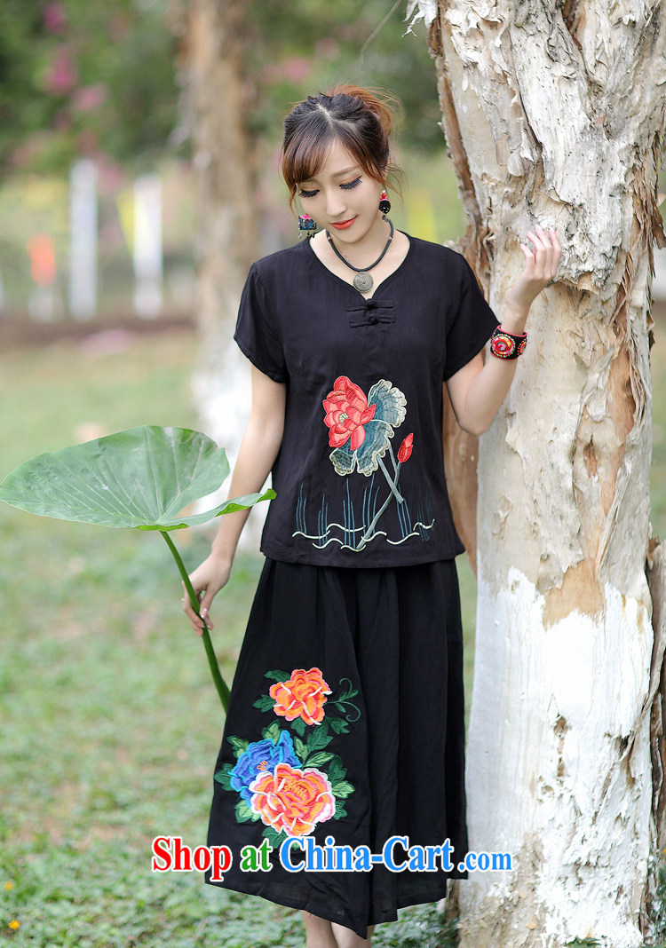 2015 spring and summer new embroidered T shirts Ethnic Wind 100 ground shirt short-sleeved-buckle clothing white XL pictures, price, brand platters! Elections are good character, the national distribution, so why buy now enjoy more preferential! Health