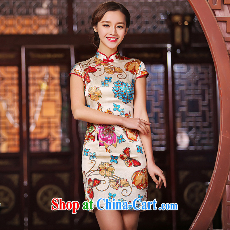 The Yee-Windsor summer flowers new heavy Silk Cheongsam summer retro fashion cheongsam dress girl cheongsam dress SZ S 2229 light yellow S