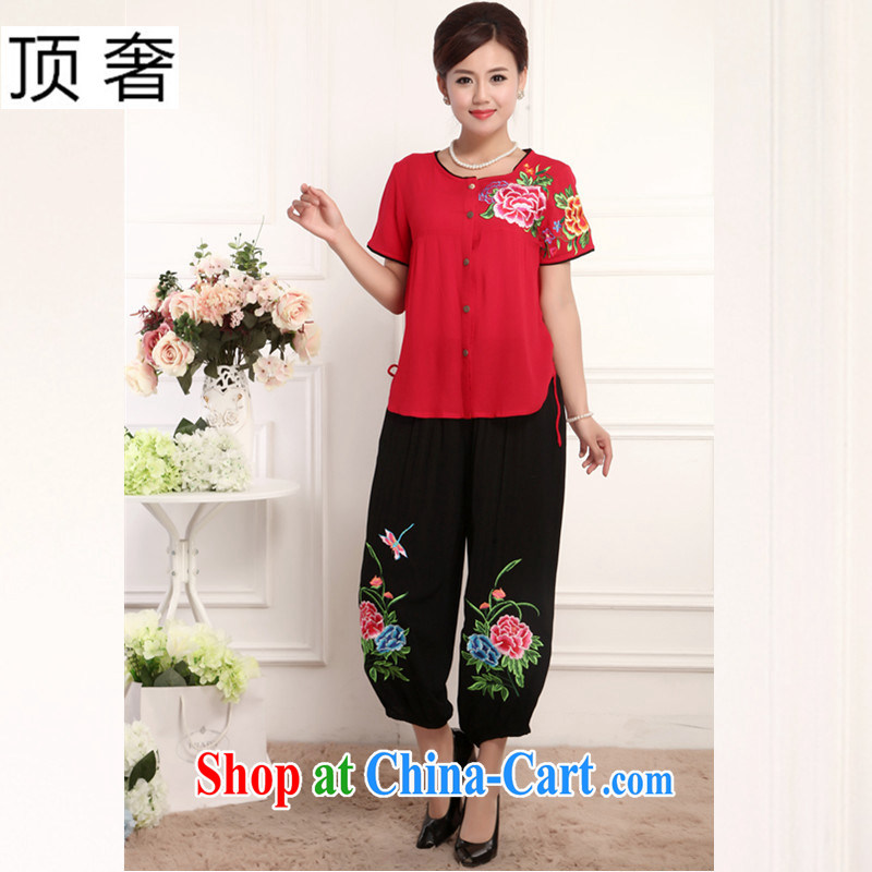 The extravagance, Ms. Tang is set spring and summer, loose version short-sleeved round-collar Green China wind national dress black pants 2015 thin half T pension middle-aged female Red, package 4 XL