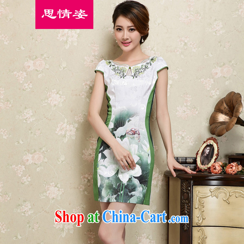 To call for summer 2015 new lady aura Ms. improved cheongsam dress summer green XXL