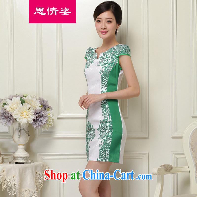To call for summer 2015 new Korean retro embroidered improved short-sleeve cheongsam dress girls summer green XL
