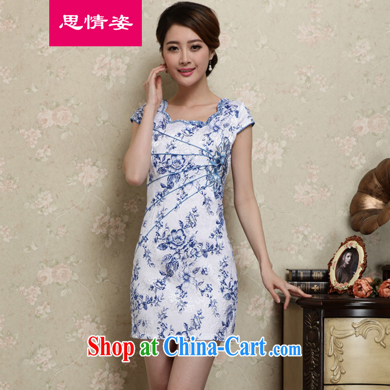 Appeals to appeal to 2015 summer female Chinese improved daily retro short-sleeved package and dresses skirts New Products blue XXL