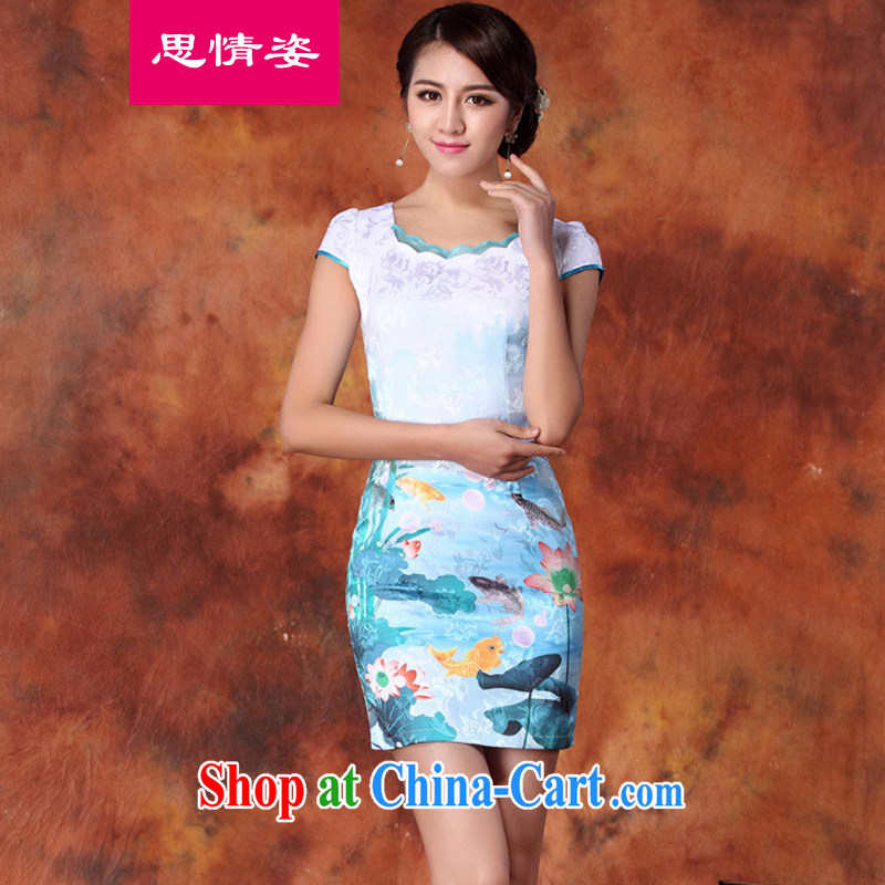 Appeals to appeal to summer 2015 new Chinese embroidered retro beauty graphics thin-waist short-sleeved package and cheongsam dress blue XXL