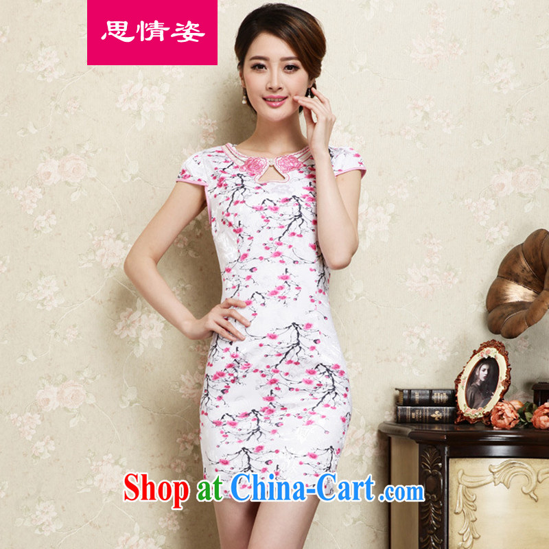 Appeals to appeal to 2015 spring and summer new retro beauty short cheongsam stylish Ms. improved cheongsam dress red S