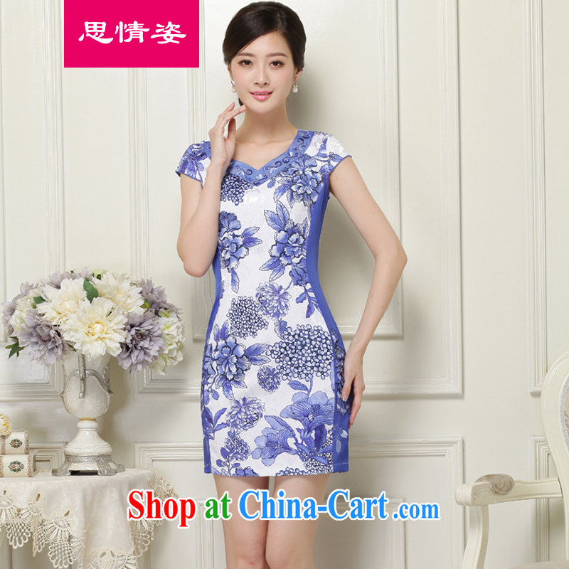Appeals to appeal to 2015 summer New China wind retro improved cultivating graphics thin short-sleeved dresses summer blue XXL