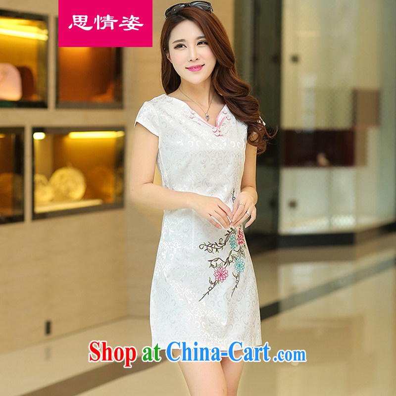Appeals to appeal to 2015 new summer improved daily Ethnic Wind elegant short sleeve cheongsam dress white XL