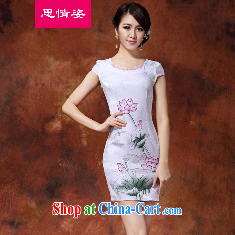 Appeals to appeal to 2015 summer new stylish retro Ethnic Wind elegant short-sleeved improved cheongsam dress summer white XXL