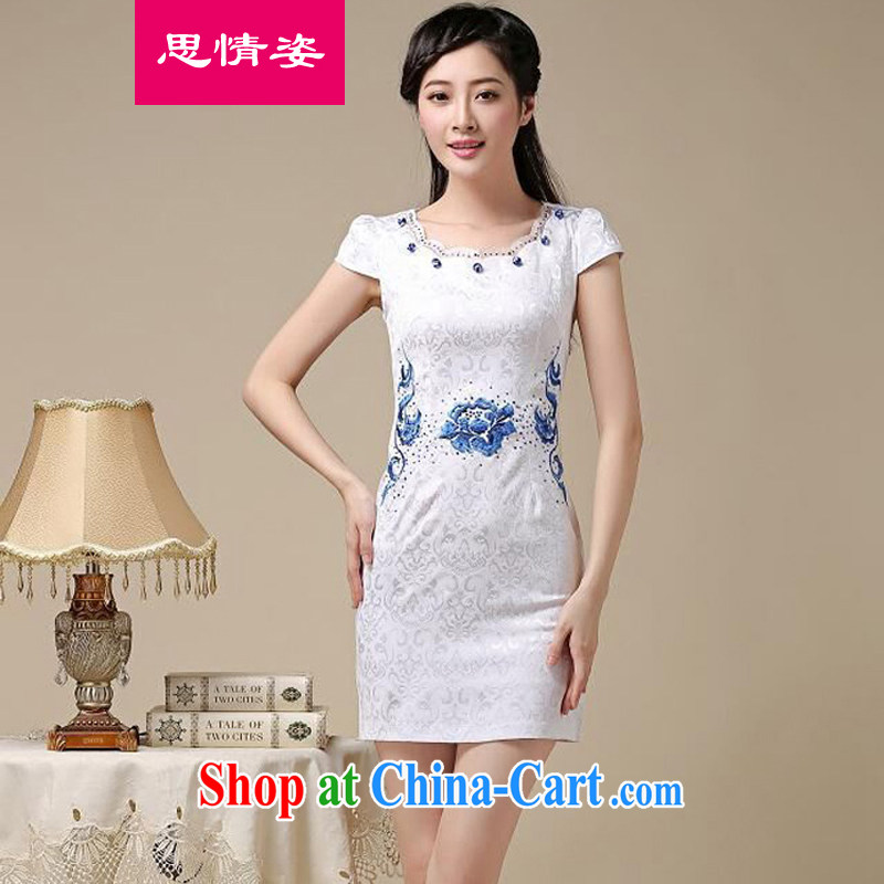 Appeals to appeal to 2015 female new Chinese Chinese high-end elegant antique beauty graphics thin package and cheongsam dress white orchids S