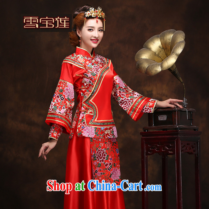 Snow Lotus bridal show groups serving Chinese red Chinese woman bride wedding toast clothing qipao Sau Wo service use phoenix dress and beauty dress red L