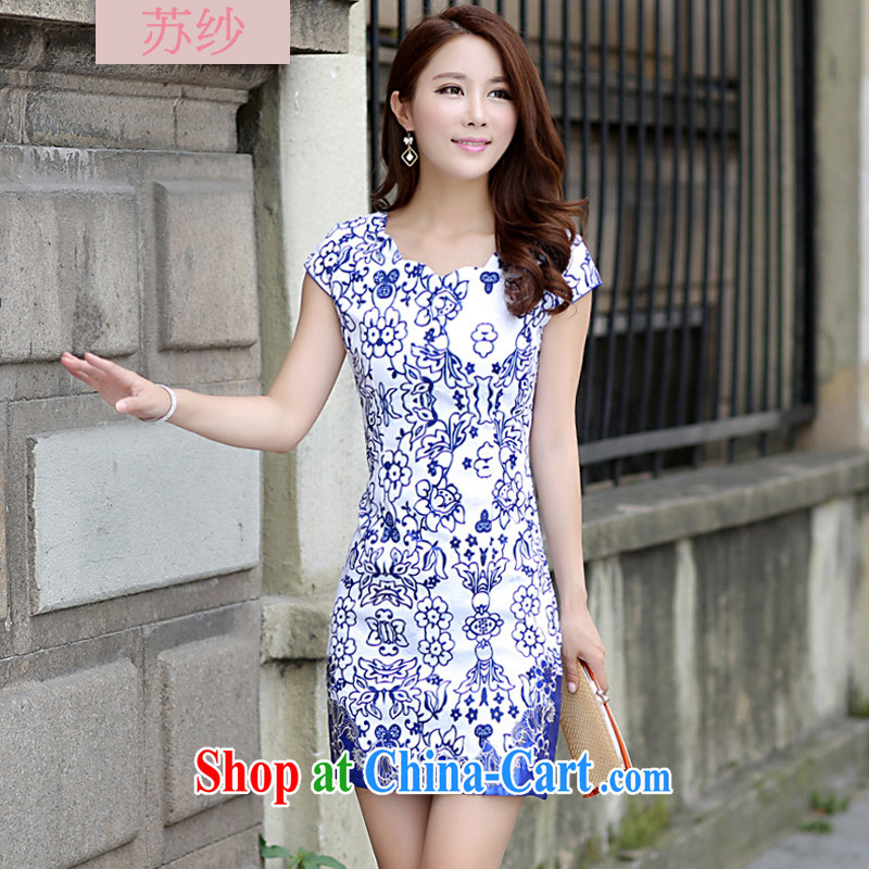 Chinese improved retro fashion stamp duty blue and white porcelain cheongsam dress female short-sleeved beauty graphics thin style package and skirt Korean version 2015 summer new J 52 blue XL