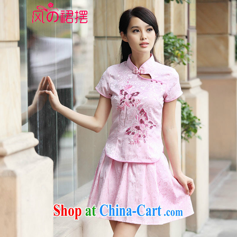 of the wind than the 2015 summer new outfit Kit elegant antique fresh Chinese to Butterfly cheongsam dress pink M