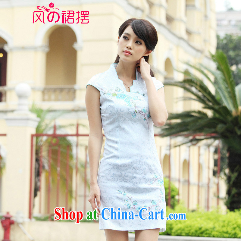 Wind skirts before 2015 cheongsam dress summer summer new stylish short retro stamp beauty dresses, white XL