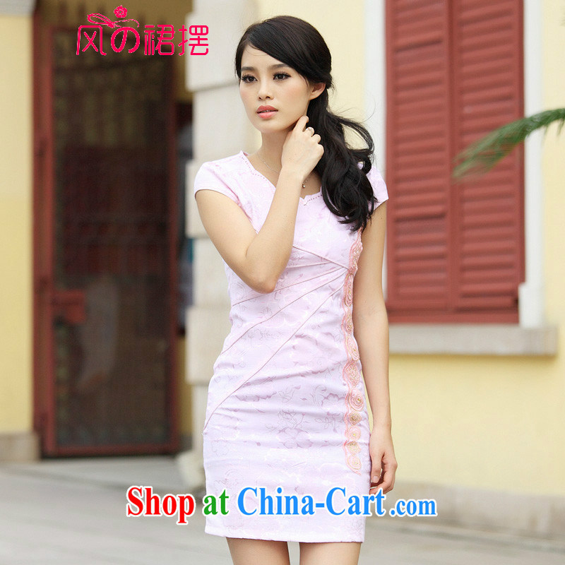 Wind skirts before 2015 new dresses and Stylish retro improved V collar short-sleeved Cultivating Female pink XL