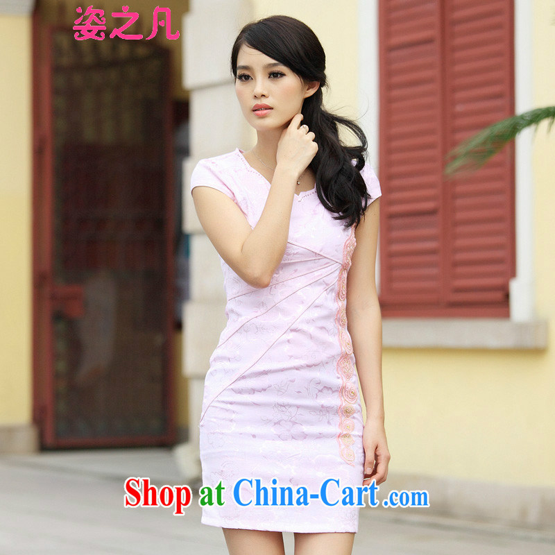 Variety of 2015 where new cheongsam Stylish retro improved V short-sleeved Cultivating Female Indigo color XL