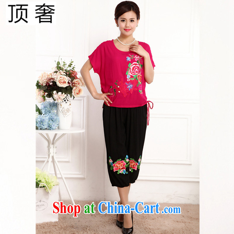 Top Luxury 2105 new, Ms. Tang is set short-sleeve China wind round-collar embroidery half sleeve shirt T red loose version T-shirt black 7 pants MOM load the red kit XL