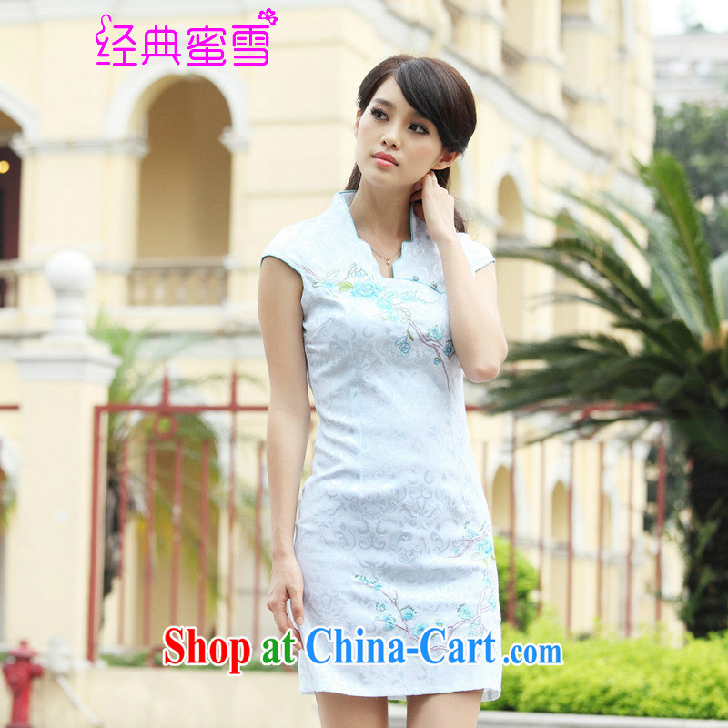 Classic honey snow 2015 cheongsam dress summer summer new stylish short retro stamp beauty dresses, white XL