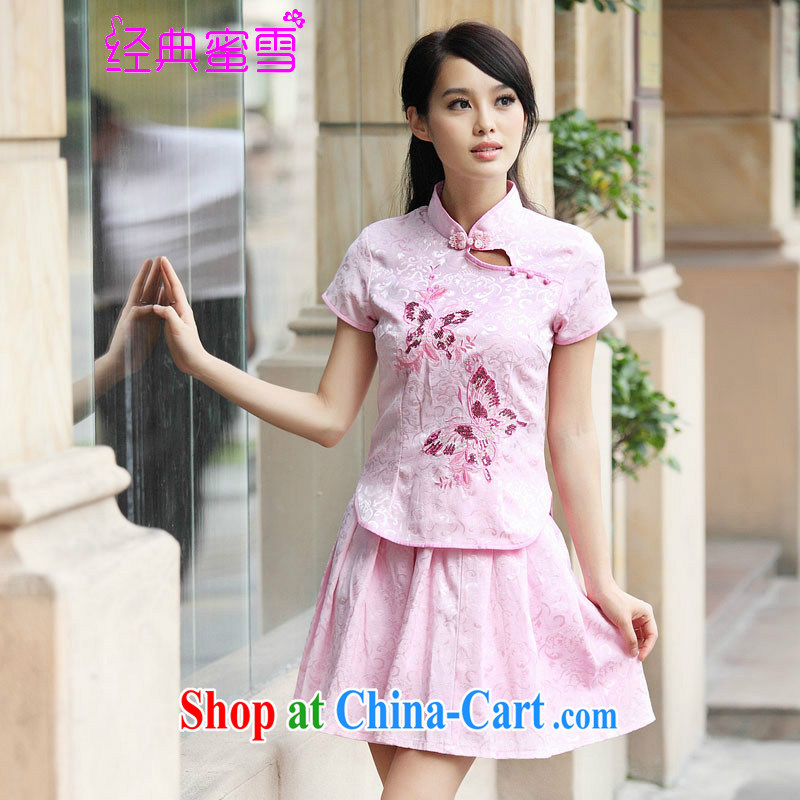 Classic honey snow 2015 summer new outfit Kit elegant retro fresh Chinese to Butterfly cheongsam dress blue XL